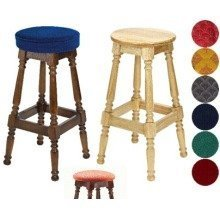 Tamara Wood Bar Stool - Padded / Unpadded Green Fabric Unpadded Polished Wood Dark Oak