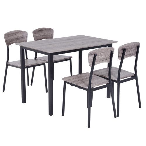 HOMCOM 5Pcs Compact Dining Set Table 4 Chairs Wood Kitchen Home Furniture Grey