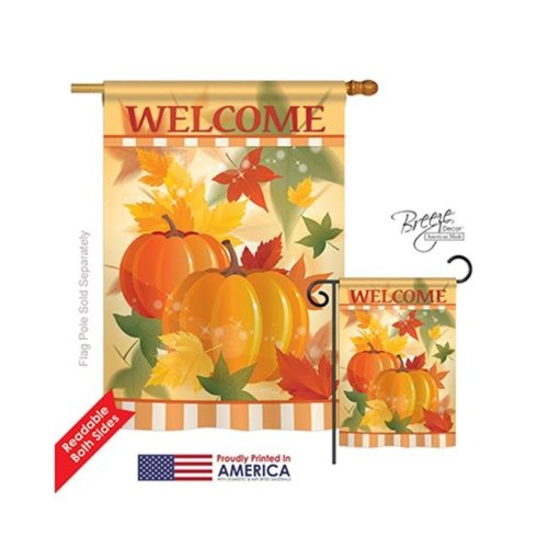 Breeze Decor 13038 Harvest & Autumn Welcome Fall Pumpkins 2-Sided Vertical Impression House Flag - 28 x 40 in.