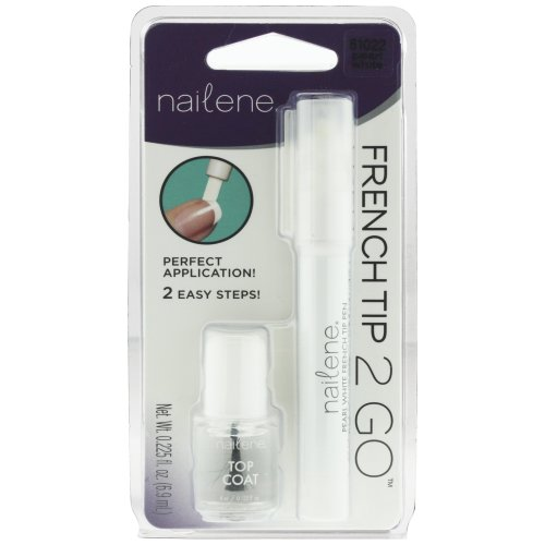 Nailene French Manicure Pen with Top Coat Pearl Silver/White