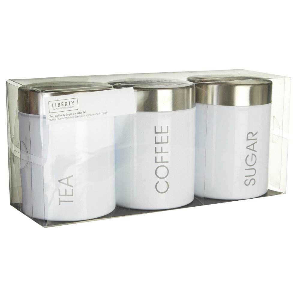 White Premier Housewares Liberty Tea Coffee And Sugar Canisters Set Of 3