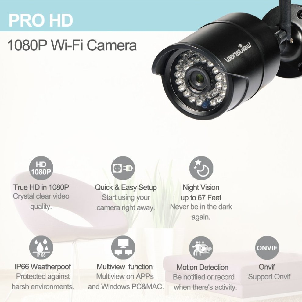 Wansview 1080P Wireless IP Security Bullet Camera IP66 Waterproof (Black)