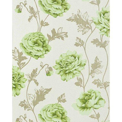 EDEM 086-25 romantic wallpaper floral design roses beige light green 5.33 sqm