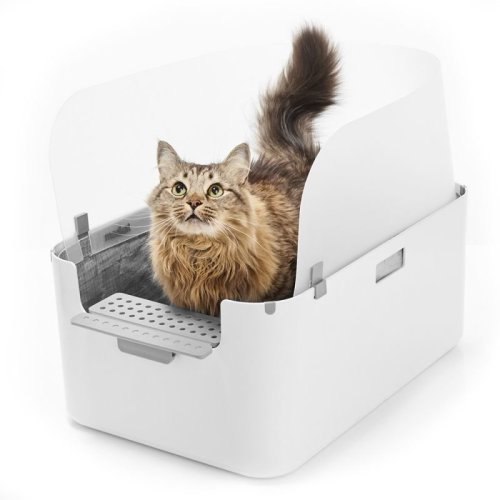 Cat Litter Tray High Open Cat Tray with Additional Stepping Platform