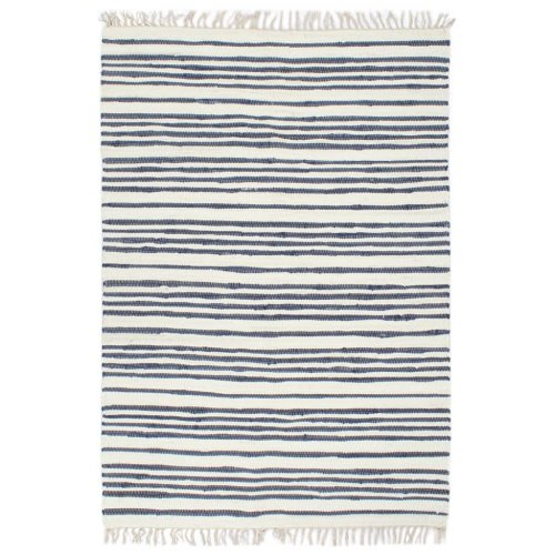 vidaXL Hand-woven Chindi Rug Cotton 160x230cm Blue and White Floor Carpet Mat
