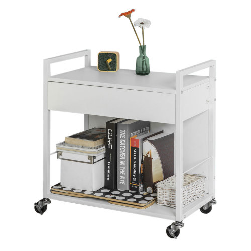 SoBuy® FKW50-W, Desk Side Printer Shelf Stand on Wheels Serving Trolley