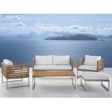 Outdoor Conversation Set - Steel and Acacia - Modern Furniture - BERMUDA