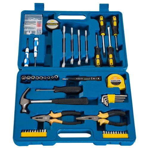 DURHAND 92 Pcs Mechanic Automotive Tool Box Kit Case Home Garage Vehicle Pliers Repair Maintenance Socket Blue