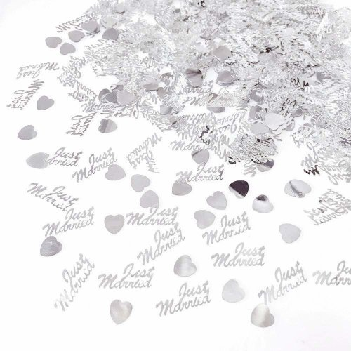 JZK 4 Pack plastic  Just Married  heart silver wedding confetti throwing dinner table scatter wedding table decoration