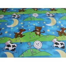 "Hey Diddle Diddle Nursery Rhyme 100% Cotton Fabric by the metre - 58"" / 147cm Wide"