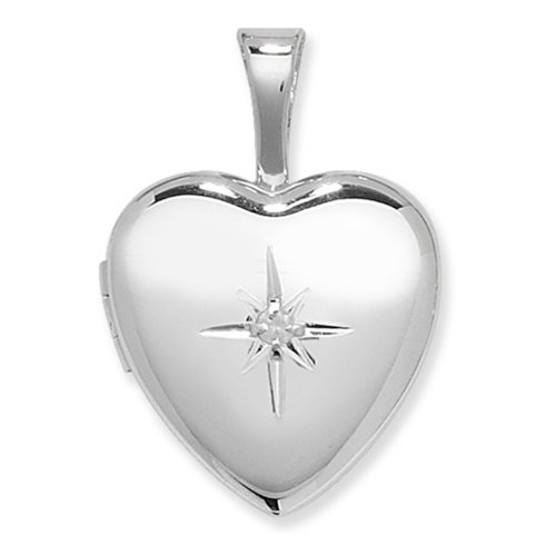 Childrens Sterling Silver Diamond Set Heart Locket On A Curb Necklace