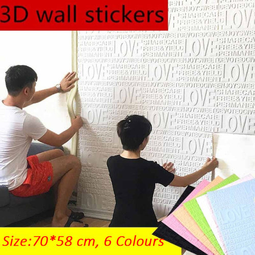 Self Adhesive Wallpaper PVC Wall Stickers PE Foam Waterproof 3D Wall Decor Embossed Brick Stone Love Print