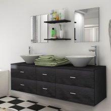 vidaXL Nine Piece Bathroom Furniture Set with Basin with Tap Black