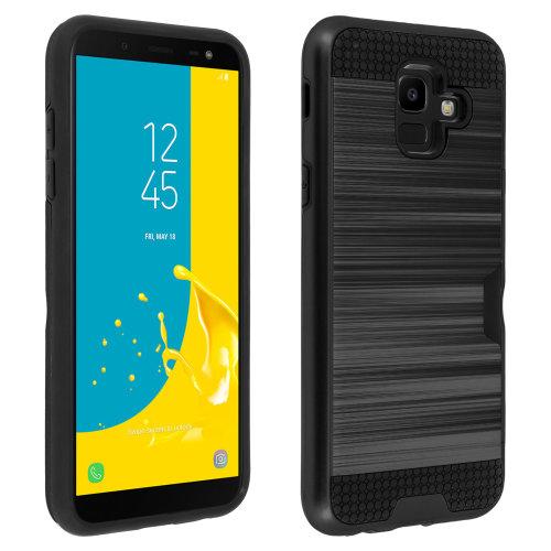 Defender bi-material Case + card holder for Samsung Galaxy J6 - Black