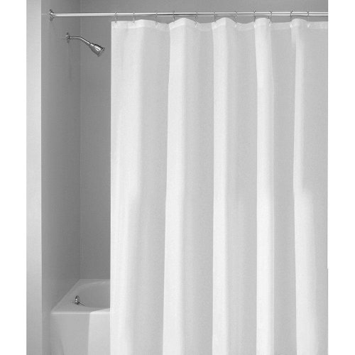 White Fabric Bathroom Shower Curtain Machine Washable