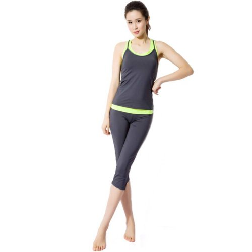 Gray Sexy Yoga Apparel Sexy Yoga Pant Gym Clothes Dance Outfit Fitness Suit