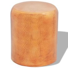 Hammered Aluminium Stool Side Table Brass/Copper Colour
