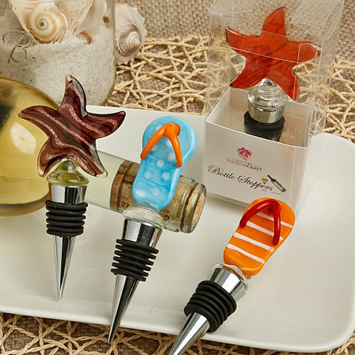 Set of 4 Flip Flop And Star Fish Murano Glass Bottle Stoppers
