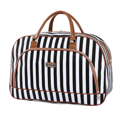Travel Bag Luggage Tote Bags for Sports, Gym and Travel, Black and white stripes