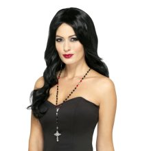 Gothic Vampire Rosary Bead Necklace -  vampire gothic rosary beads necklace halloween fancy dress accessory