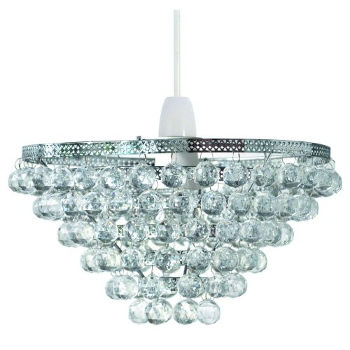 Clear 6 Tier Acrylic Beaded Easy Fit Pendant