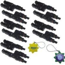 HQRP 5 Pairs MC4 Solar Panel Connector male & female (M&F) for PV / Photovoltaic System + HQRP Sun Meter