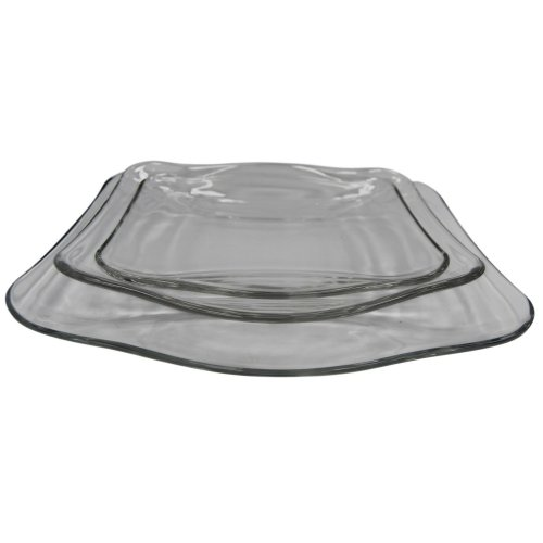 6 Piece Glass Dinner Set. Consists of 2 Rectangle Large Plates, 2 Soup 2 Side