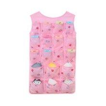 24-Pocket Double-sided Underwear Bra Socks Hanging Storage Organizer, Pink Candy