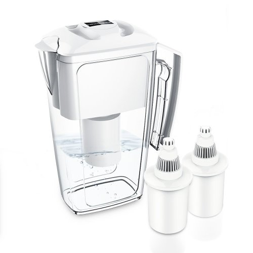 Alkaline Water Filter Jug with 2 Long Life Filter Cartriges, 2.5L OXA Smart Cool Water Pitcher BPA-Free,White