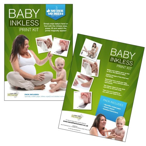 DELUXE Inkless Wipe Hand & Foot Print Kit - 3 Large Papers & 2 Inkless Wipes IDEAL GIFT!