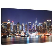 New York Harbour at Night Canvas Wall Art Picture Print