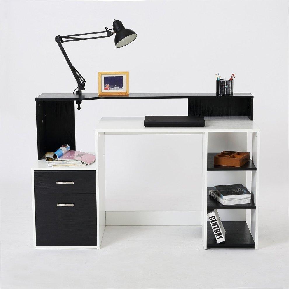 Homcom Wooden Computer Desk Pc Modern Home Office Printer Shelf W Storage 5