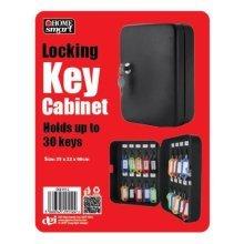 Black Key Cabinet Safe Case Box 30 Keys Hooks Metal Storage Locking Security Case