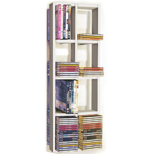 IRIS - Double Wall 152 CD / 64 DVD / Blu ray Storage Frame Shelf - White