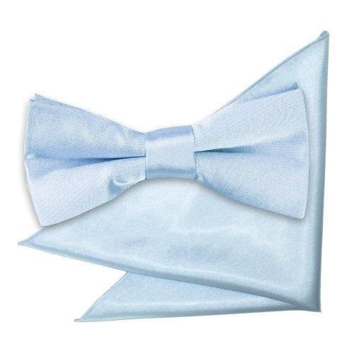 Baby Blue Plain Satin Bow Tie & Pocket Square Set for Boys