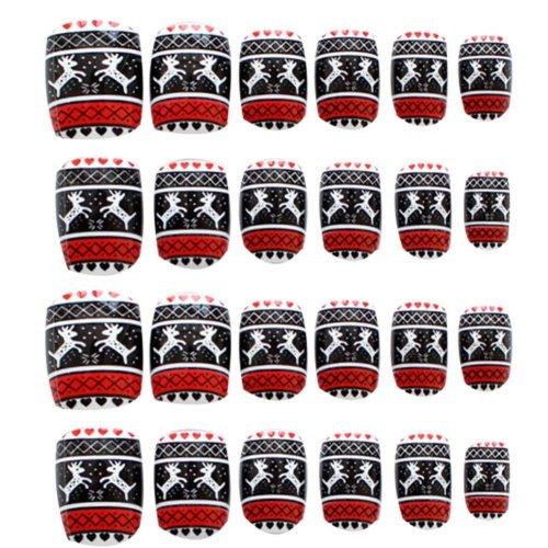 24 Pcs Fashion Nails Stickers Beautiful Nail Decorations False Nails Tips [H]