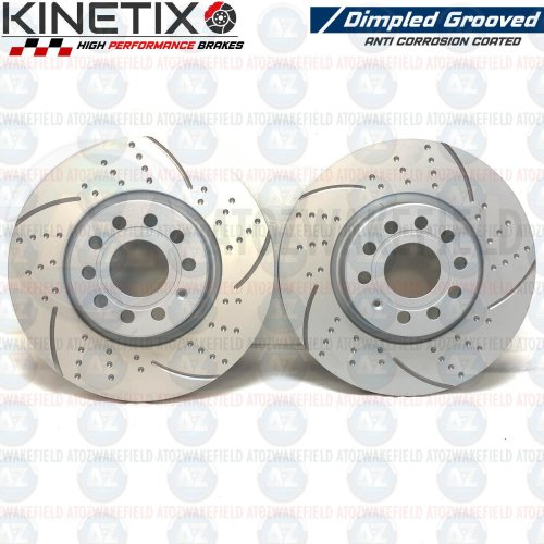 FOR VW GOLF 2.0 GTI FRONT KINETIX DIMPLED GROOVED BRAKE DISCS PAIR 312mm COATED