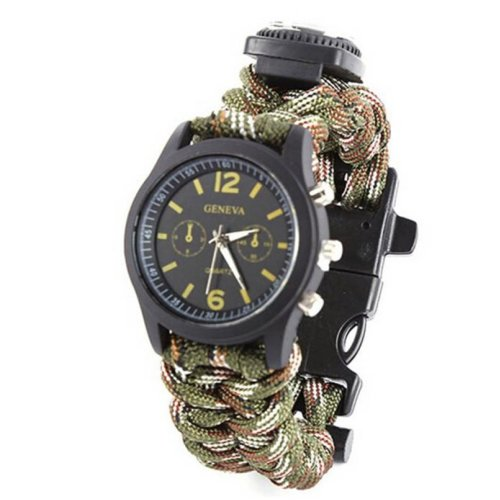 TRIXES Camouflage Paracord Survival Watch with Built in Fire Starter and Whistle for Hiking Camping Adventuring