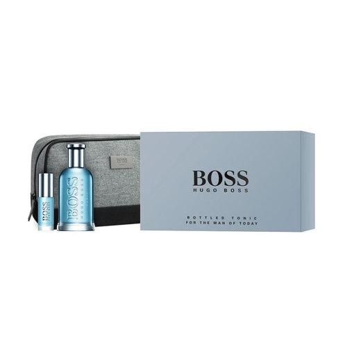 Hugo Boss Bottled Tonic Eau de Toilette Men's Gift Set Spray (100ml) with 8ml EDT and Wash Bag