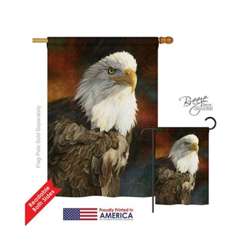 Breeze Decor 10060 Wildlife & Lodge Portrait of an Eagle 2-Sided Vertical Impression House Flag - 28 x 40 in.