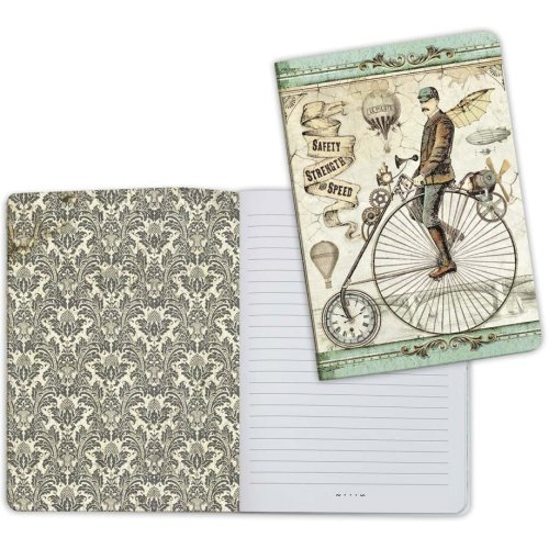 Stamperia Lined Notebook A5-Bicycle, Voyages Fantastiques