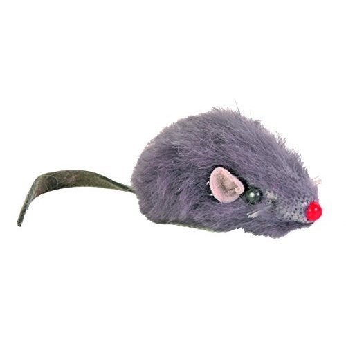 Trixie Plush Mice With Bell For Cat, 5 Cm, White/grey, 2-piece - Cat Whitegrey -  trixie plush cat whitegrey mice bell 5 cm 2piece toy mouse