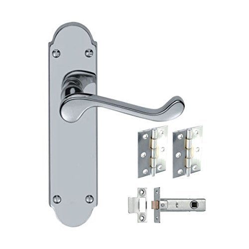 6 x Sets Shaped Scroll Door Handles with Hinges and Latches - Polished Chrome - Handlestore®