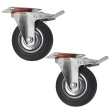 """5"""" (125mm) Rubber Swivel With Brake Castor Wheels Trolley Caster (2 Pack) CST08"""