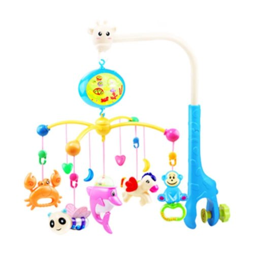 341 Contents in Chinese Rechargeable Battery Musical Soothe Dreams Mobile,Animal Blue