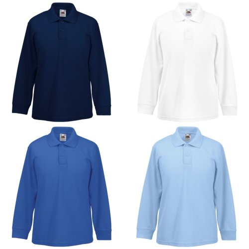 Fruit Of The Loom Childrens Long Sleeve 65/35 Pique Polo / Childrens Polo Shirts