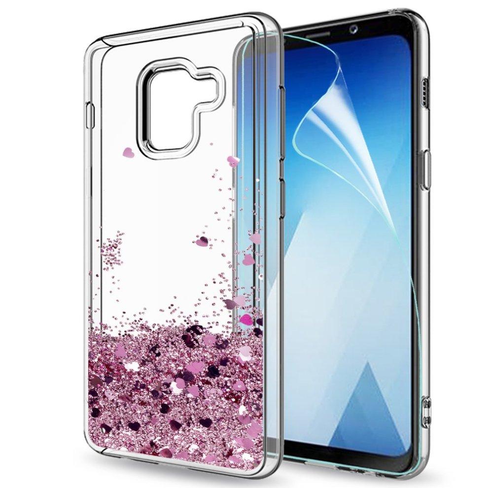 b8b44f1c933881 Samsung Galaxy A8 2018 Case Liquid Glitter with HD Screen Protector for  Girl Women, ...