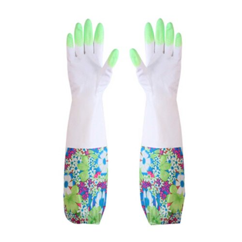 Floral Waterproof Gloves Laundry Gloves Cleaning Gloves  Kitchen Rubber Gloves