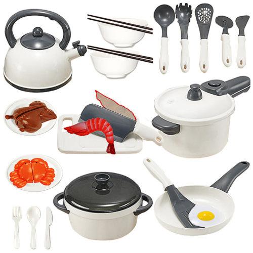 25Pcs Children Play & Pretend Toy Kitchen Cutting Chicken Cookware Kit