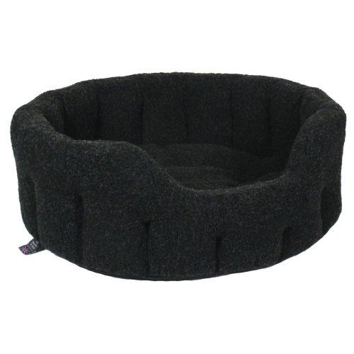 Premium Oval Fleece Softee Bed Black Size 5 76x64x24cm